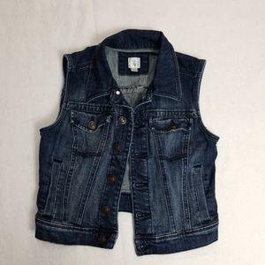 lauren conrad sleeveless jean jacket vest xs